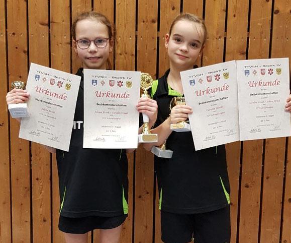 Dominierten die Konkurrenz der Schülerinnen C bei den Bezirksmeisterschaften in Bad Schwartau: Joleen Frink (l.) und Carolin Stindt vom TSV Schwarzenbek.