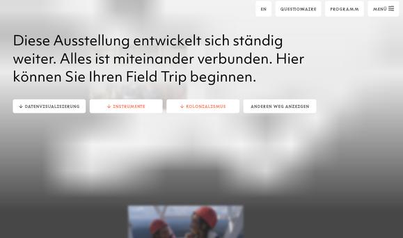 """Screenshot Landingpage der digitalen Ausstellung """"Critical Zones"""" des Zentrums für Kunst und Medien, https://zkm.de/de/ausstellung/2020/05/critical-zones (erstellt am 14.07.2020)."""