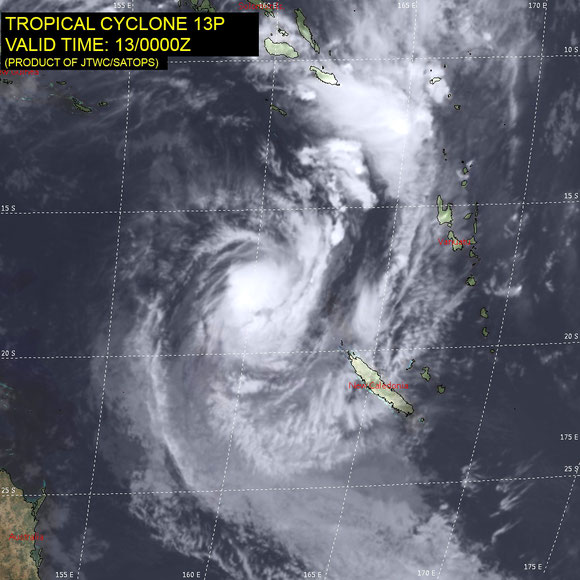 Infrared satellite image of Tropical Cyclone Linda in the Coral Sea, 13/03/2018. Image from JTWC.