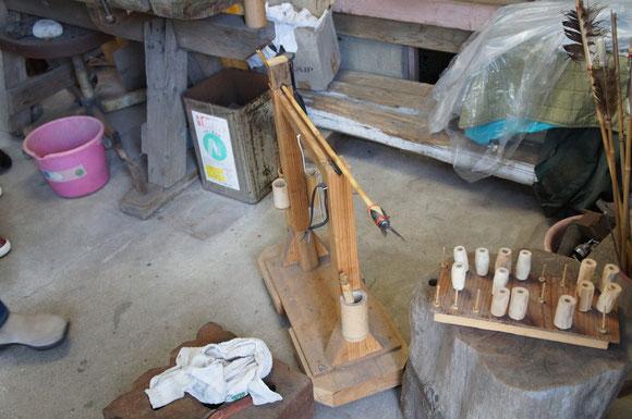 矢を作るための道具は中村さんの手作り