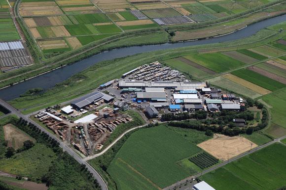 山佐木材下住工場の航空写真