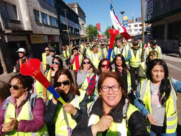 Faglig demoblok mod Piñera-regeringen , Santiago, d. 21. oktober 2019