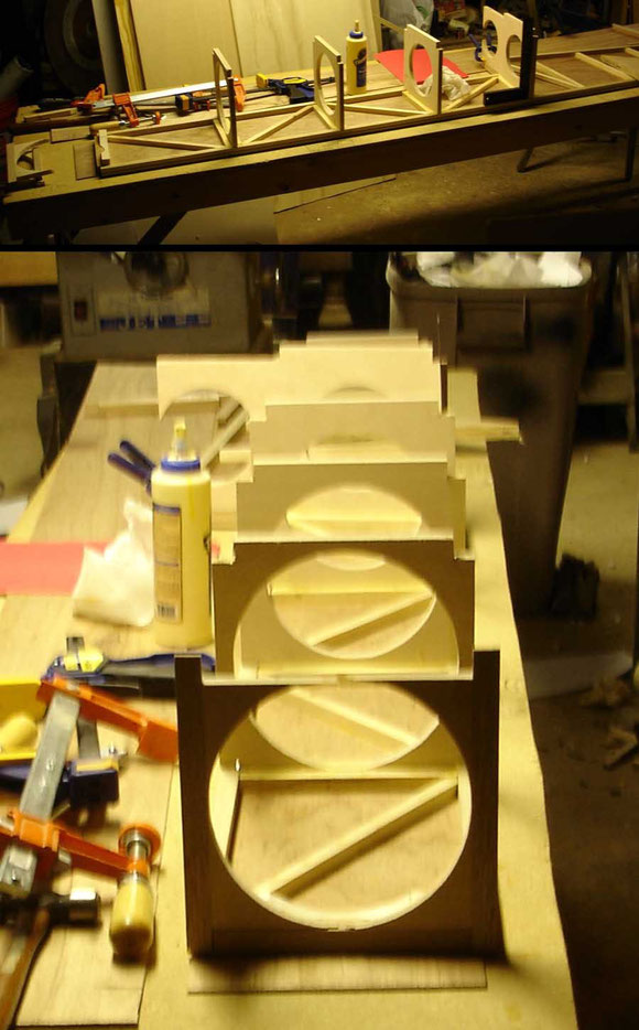 Gluing the baffles in place
