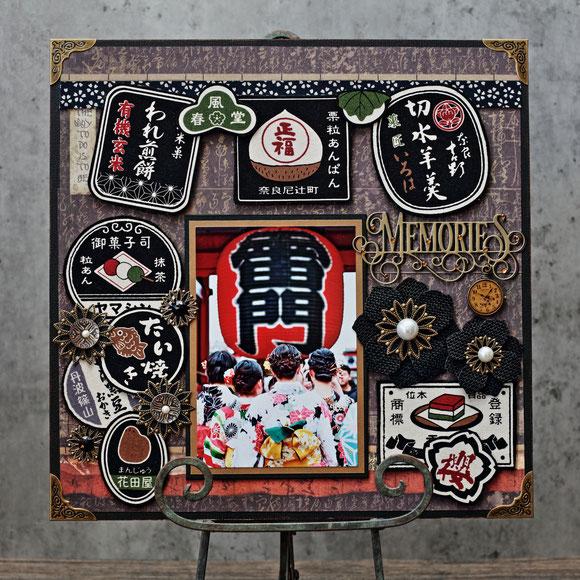★5月・アトリエレッスンにご参加ありがとうございました〜💕 子どもの日に撮影した写真や浅草、鎌倉など旅の写真、和の写真が合う12インチ作品。 写真はMasako撮影。浅草でフォトレッスンした際、着物を着た女の子達が雷門を目指しワクワクしてる後ろ姿を撮影したものです😊 パーツを和菓子の看板柄布地で作った和モダンテイスト。