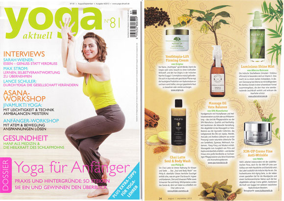 YOGA AKTUELL AUG-SEP2013**MASSAGE OIL 'VATA BALANCE' ** AYURVEDIC COLLECTION