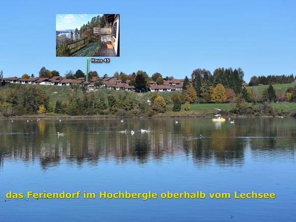 Ausblick über den  See und zu den Allgäuer Alpen von der Terrasse