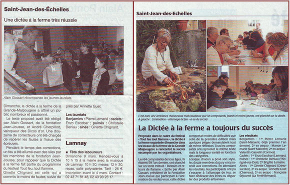 Ouest France et Maine Libre février 2014
