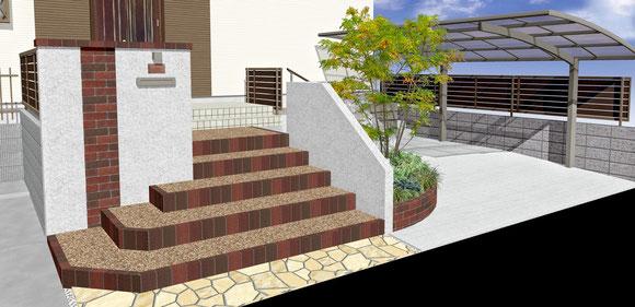 3DCADによる施工前の外構工事・エクステリア工事・ガーデン(ガーデニング)工事、完成イメージ