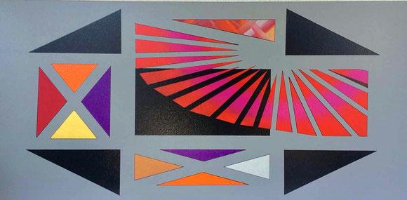 Gradlinige Elemente auf grau lackierter Leinwand. 5 schwarze und 25 farbige gemalte Flächen wirken beruhigende auf den Betrachter.