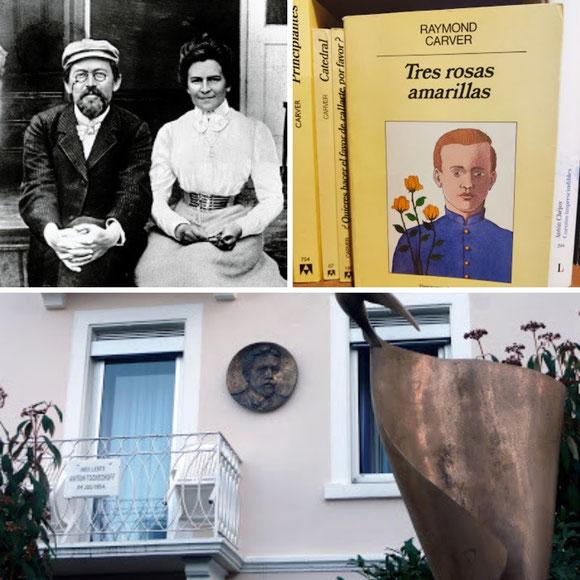 Chéjov y Olga Knipper; 'Tres rosas amarillas', de Raymond Carver; habitación en la que murió Chéjov en Badenweiler.
