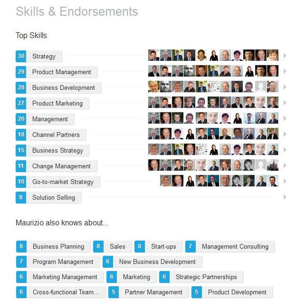 Auszug von Referenzen (14.9.2015) im LinkedIn-Profil