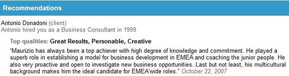 Auszug aus dem LinkedIn-Profil