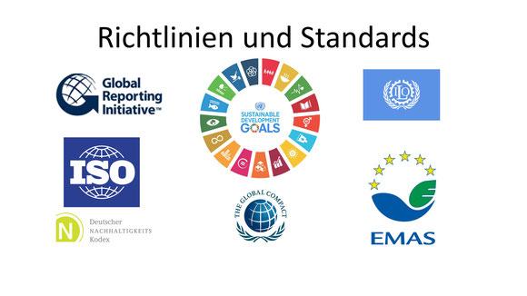 Logos einer kleinen Auswahl der wichtigsten Leitlinien und Standards