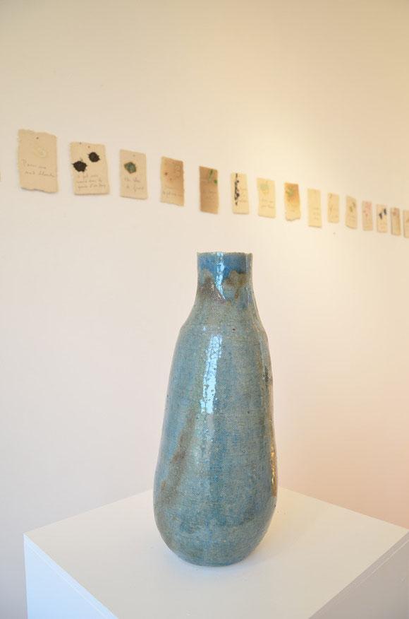 Grande bouteille bleue, ceramic(grès), glaze, h :41cm / price on request