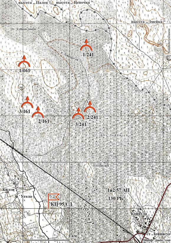 Расположение частей 95-й стрелковой дивизии  западнее  ст. Лейпясуо  21.02.40  .