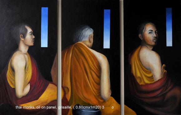 Thai Monks   olieverf op hout  3x (60cmx120cm)  realisme techniek grisaille     Prijs: 1800 euro inc btw