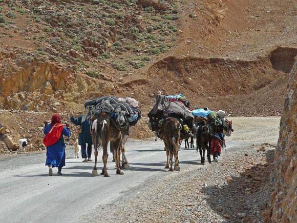 Nomaden unterwegs mit Sack und Pack über den Tizi-Tirherhouzine