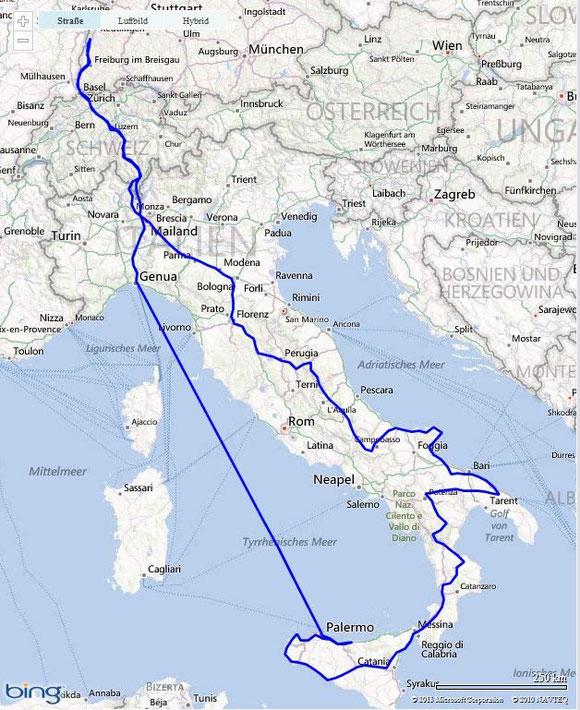 Anreise nach Genua, dann in rund 20 Stunden mit dem Schiff nach Palermo. In 13 Tagen auf dem Landweg zurück