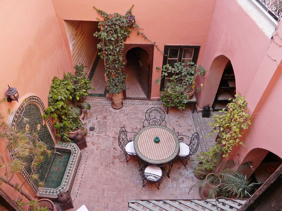 Blick in den Patio unseres Riad.
