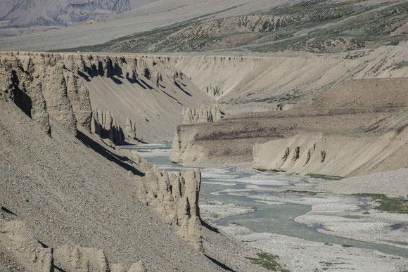Beim Abendspaziergang erwartete uns noch ein echtes Highlight dieser Tour. Der Tsarap River hat sich tief in die weiche Erdkruste gefressen und seine Spuren hinterlassen.
