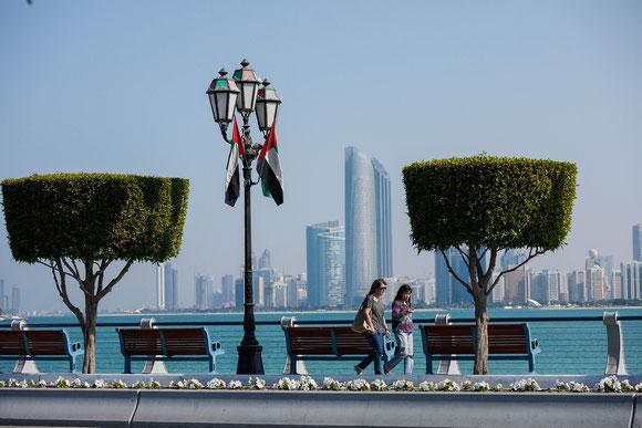 """ein """"einladendes"""" Bild zum Ausruhen auf den Bänken: mit perfekt geschnittenen Buchsbäumen, alten Kandelabern, den obligatorischen Fähnchen, grün-blauem Wasser und einer imposanten Skyline..."""