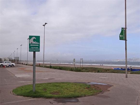 Tsunami-Warnschild, wie es an jeder Strandpromenade mehrfach zu sehen ist.