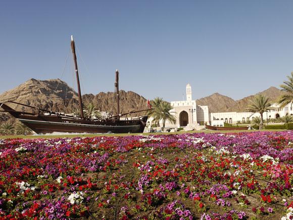 einer der vielen Kreisverkehre, aber mit Dhau, Wasser und vielen Blumen, dahinter wohl ein Ministerium, das für mich eindrucksvoller war als das Al-Bustan-Palace-Hotel, das sich links von mir befindet