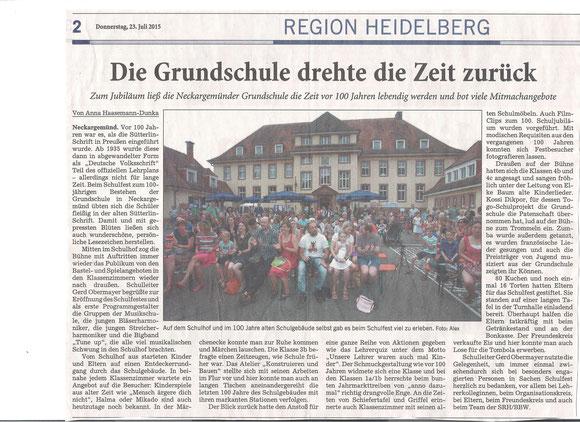 RNZ-Artikel vom 23.7.2015 - von A. Haasemann-Dunka