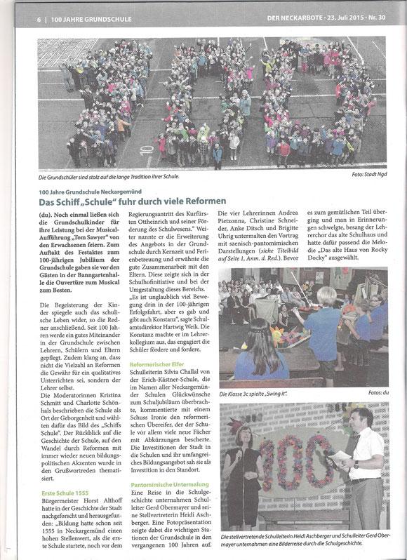 Neckarboten vom 23.07.2015 - Text/Bilder von A. Haasemann-Dunka