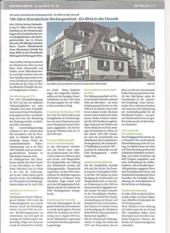 Neckarboten vom 16.7.2015 - Text von A. Haasemann-Dunka