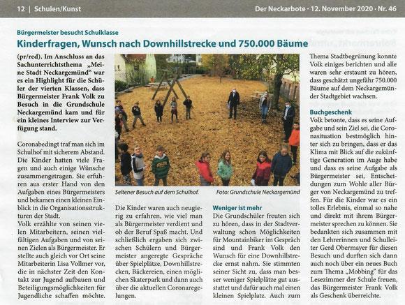 entnommen Neckarboten Ausgabe 46 - 12.11.2020 - Foto GS Ngd.