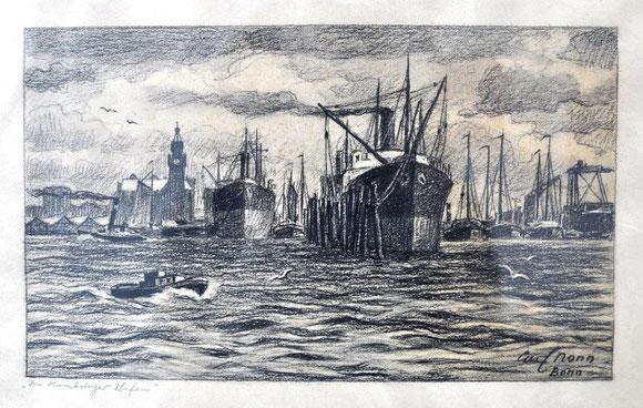 Carl Nonn Hamburger Hafen Kohle auf Papier signiert