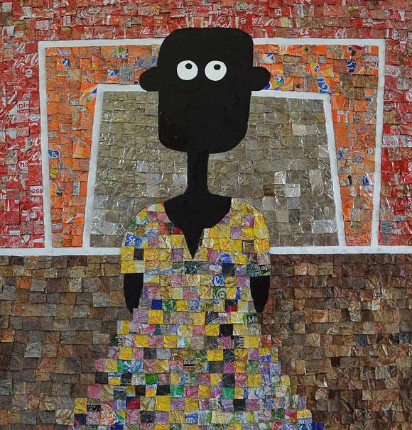 NALA will Tanzen, 70x70cm, Rostdosen und Acryl, von André Pilz