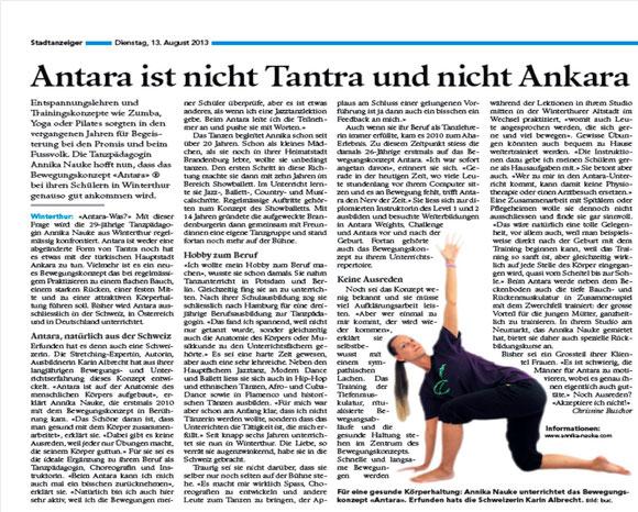 Artikel im Stadtanzeiger Winterthur vom 13.08.2013