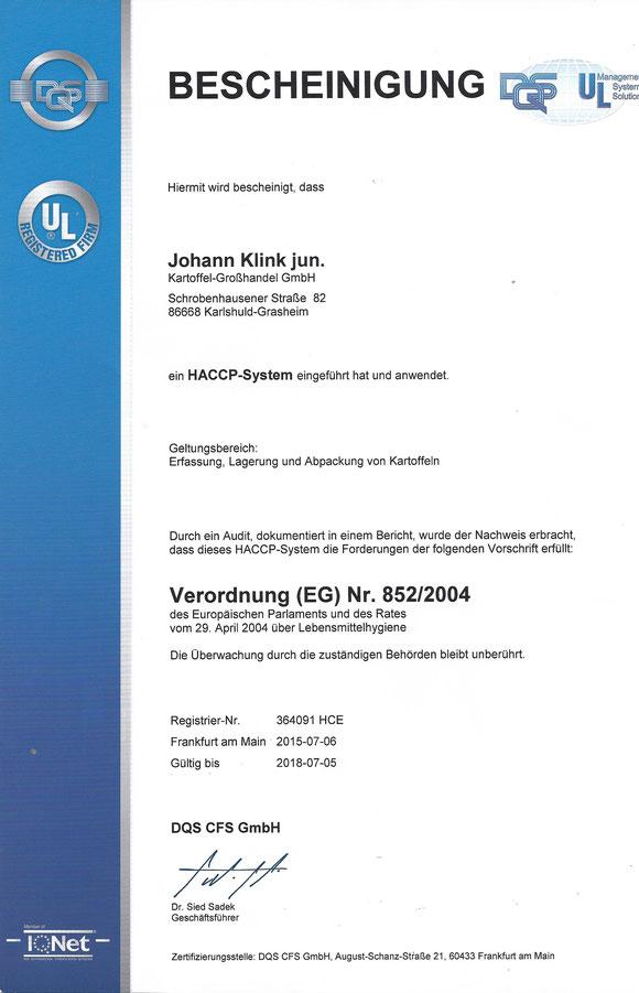 Unser Zertifikat für unsere Kunden