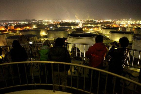 最初の目的地は、小名浜の工場夜景を一望できる大畑公園展望台。