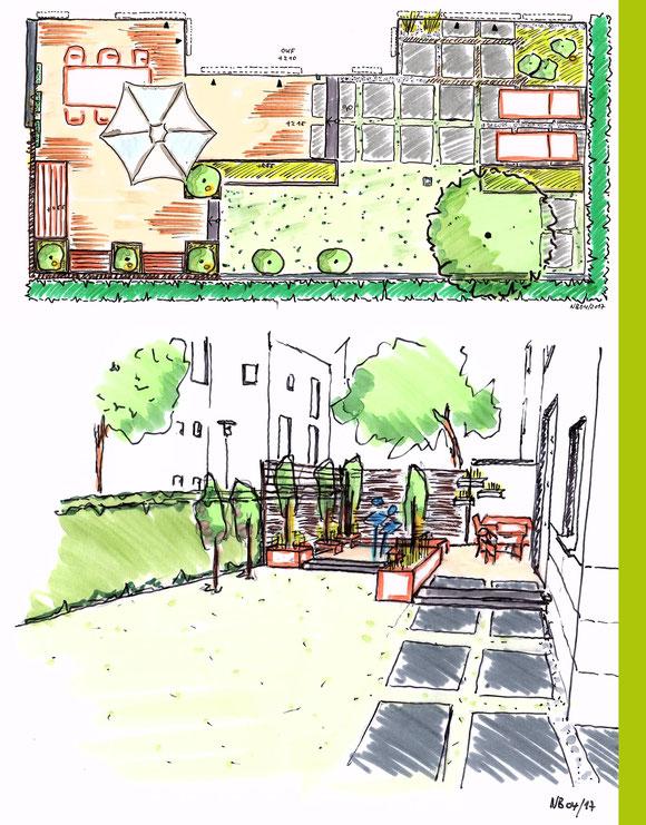Entwurfsplan + Konzeptskizze Umgestaltung Stadtgarten