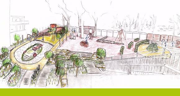 Entwurfsskizze Neugestaltung Kita-Außengelände