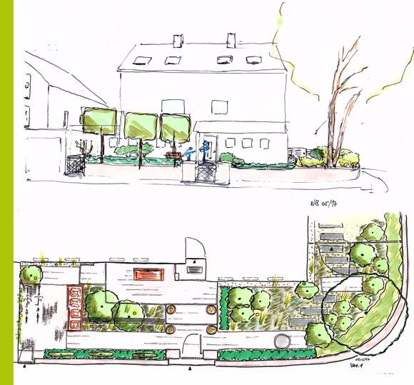 Vorentwurf + Konzeptskizze Umgestaltung Vorgartenbereich