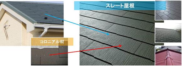 スレート屋根コロニアル材
