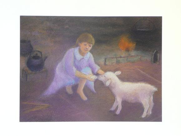 Flora nursing the lamb 42.5cmx52.5cm (sold)