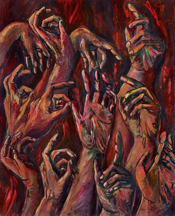 """"""" GRANDES MAINS ROUGES 1 """"  1985 . Huile sur toile 162X130 cm . Signée en bas à droite."""