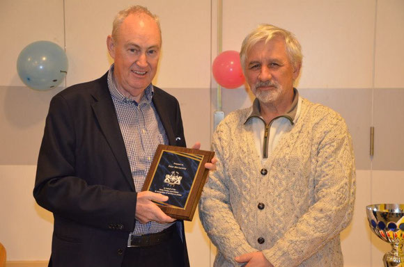 Peter MacLaverty receiving his Servies to Cricket award in 2012