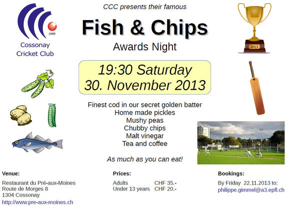 Cossonay Cricket Club Fish & Chips Awards Night