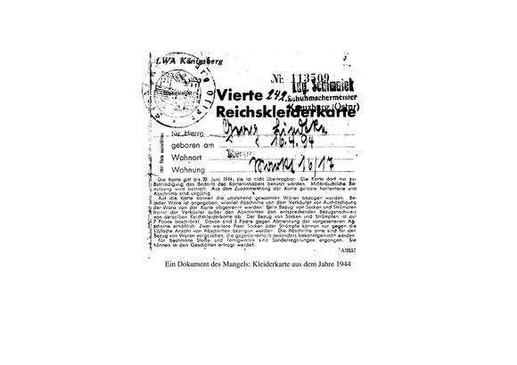 Reichskleiderkarte aus: Kreisbrief der Kreisgemeinschaft Pr. Eylau