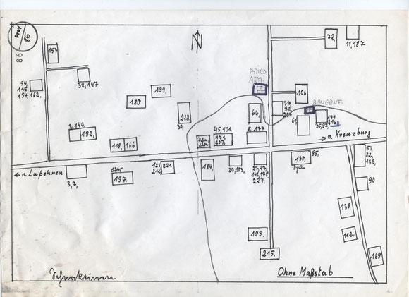 3. Dorfplan Schnakeinen bzgl. der Einwohnerlisten