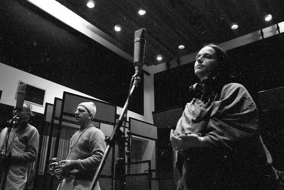 Yamuna Devi Dasi (right) while recording of the Hare Krsna album