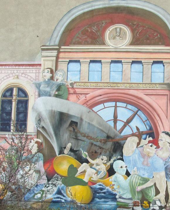 Wandgemälde in der Innenstadt