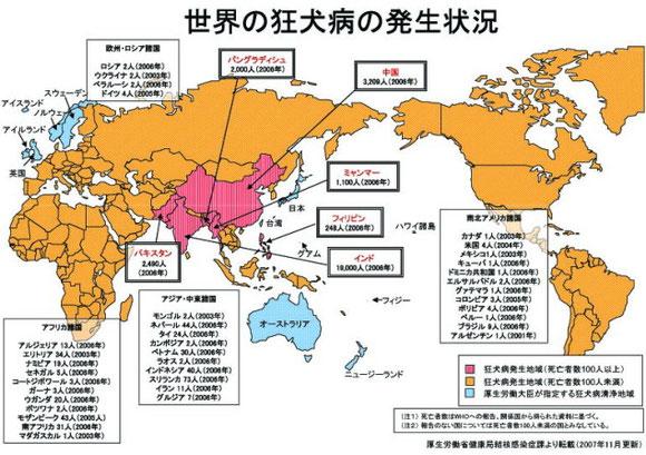 日本は数少ない狂犬病の洗浄国です。