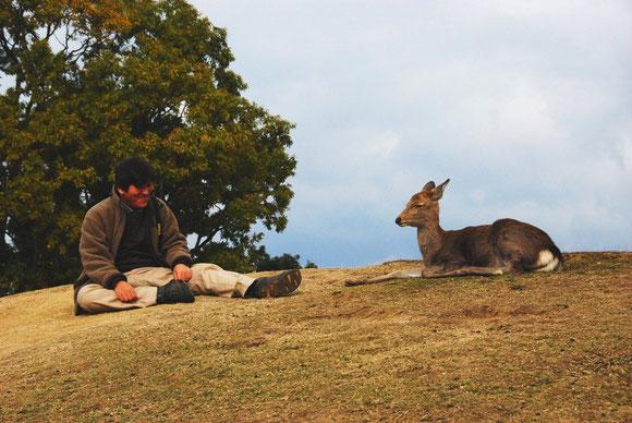 撮影後の一時、鹿さんとの談笑。Photo By HomiSiratori